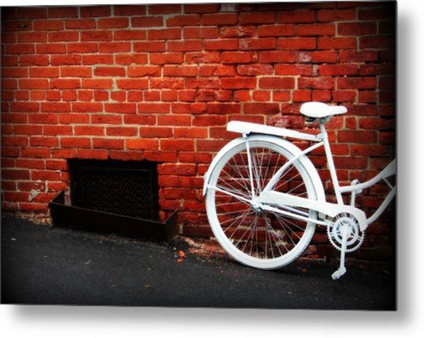 White Bike On Red Brick Metal Print