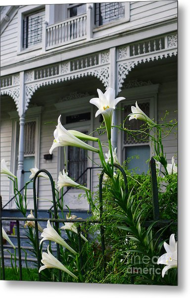 White Lilies With White Detail Metal Print