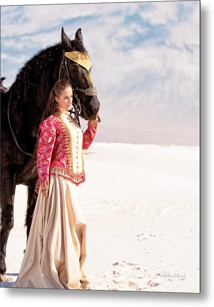 White Sands Horse And Rider #2a Metal Print