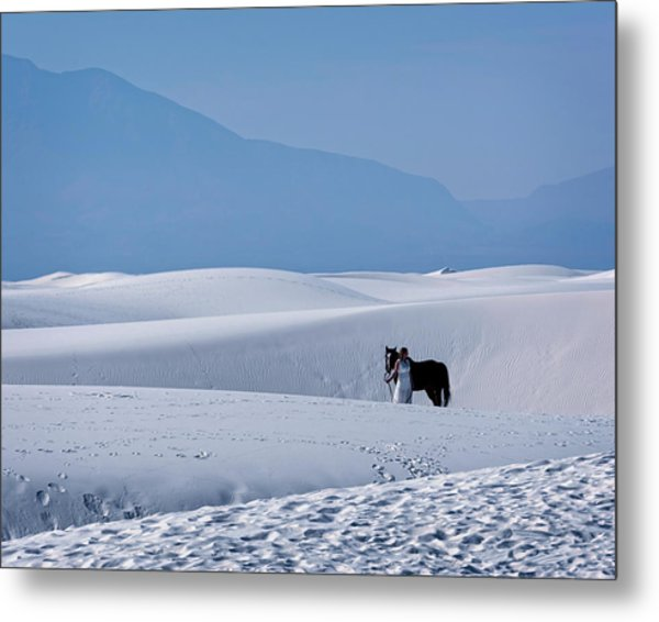 White Sands Horse And Rider #5b Metal Print