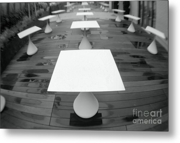 White Tables Metal Print