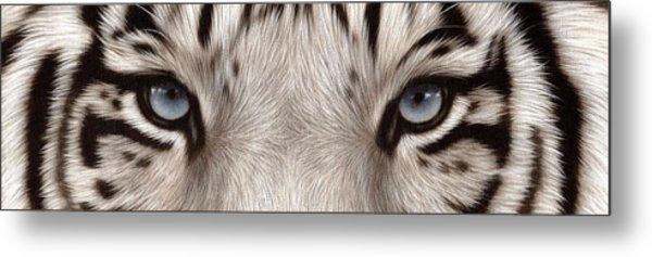 White Tiger Eyes Metal Print