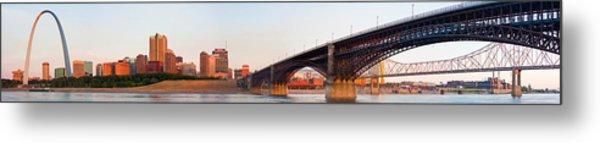 Wide View Of St Louis And Eads Bridge Metal Print