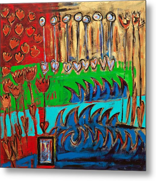 Wild Abstract Garden Metal Print by Maggis Art