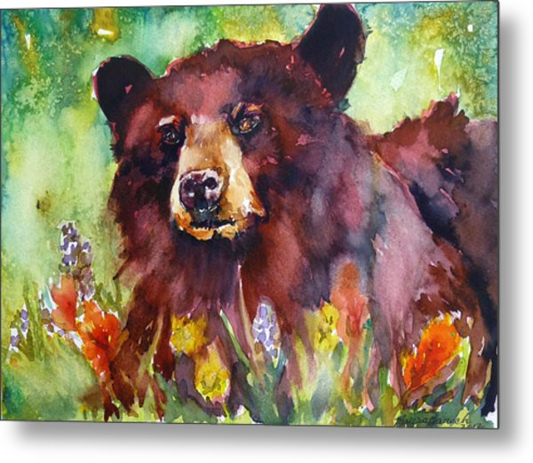Wildflower Bear Metal Print