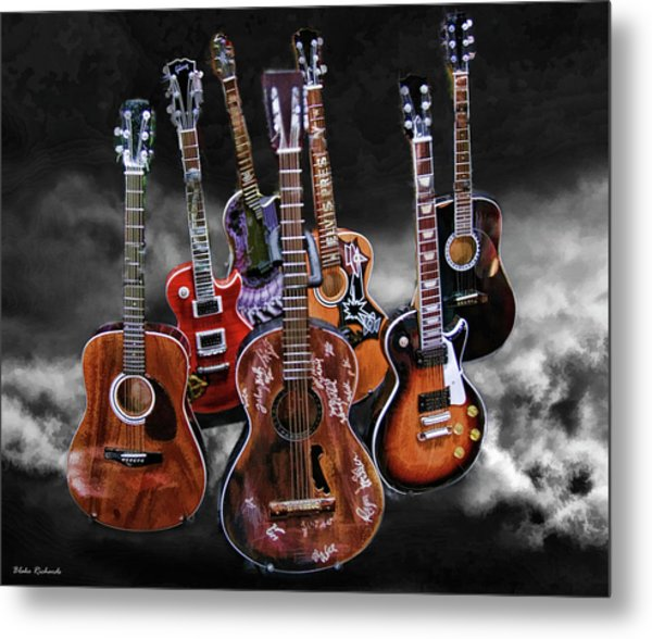 Willie Nelson Slash Martin Elvis Johnny Cash Guitar's  Metal Print