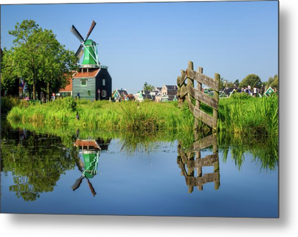 Windmill Reflection Metal Print