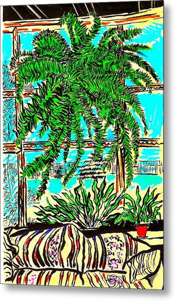 Window Loving Fern Metal Print