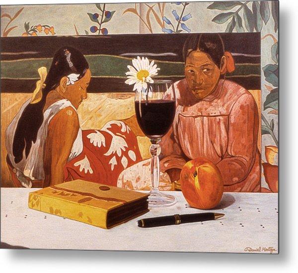 Wine Glass And Gauguin Metal Print by Daniel Montoya