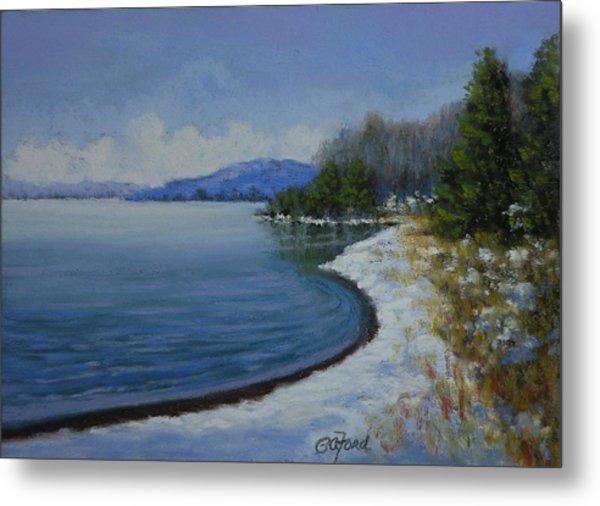 Winter At The Lake Metal Print by Paula Ann Ford