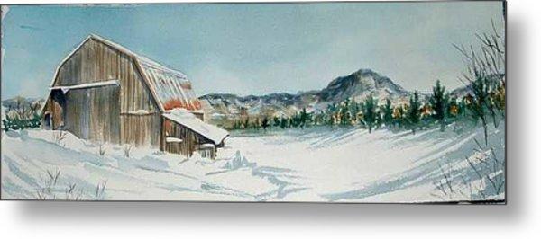 Winter Barn Metal Print by Diane Ziemski