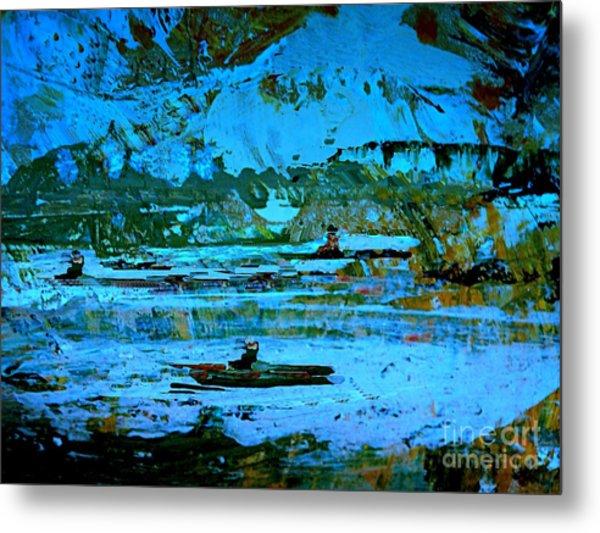 Winter Canoes Metal Print