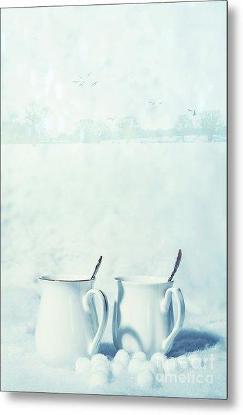 Winter Drinks In Snow Metal Print