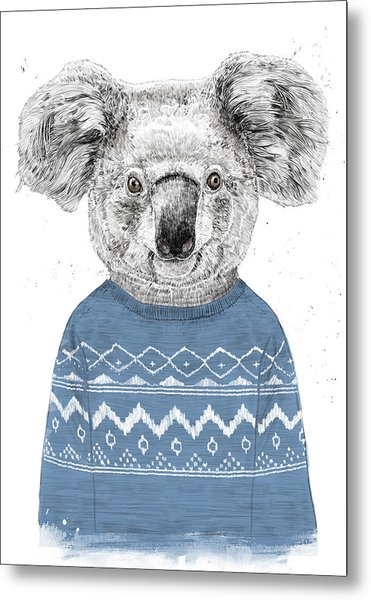 Winter Koala Metal Print