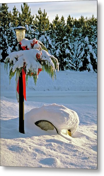Winter Lamp Post In The Snow With Christmas Bough Metal Print