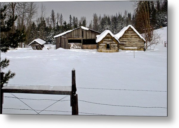 Winter On The Ranch Metal Print