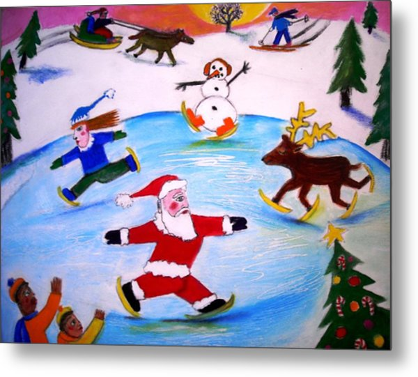 Winter Party With Santa And Rudolph Metal Print by Ward Smith
