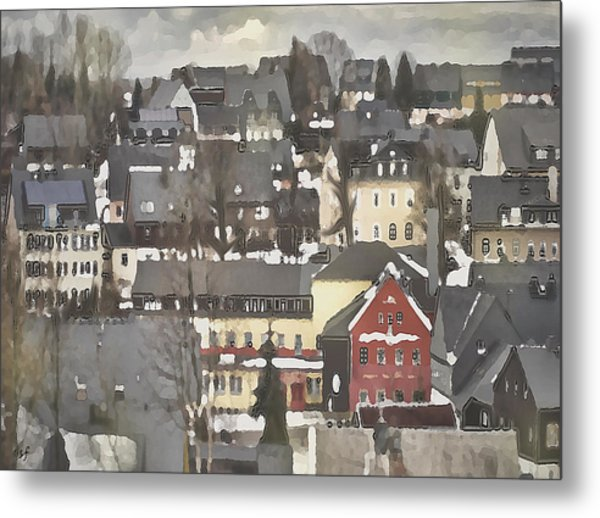 Winter Village With Red House Metal Print