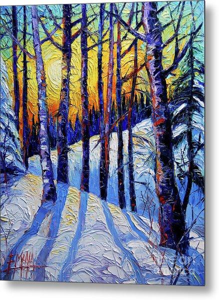 Winter Woodland Sunset Modern Impressionism Palette Knife Oil Painting Metal Print