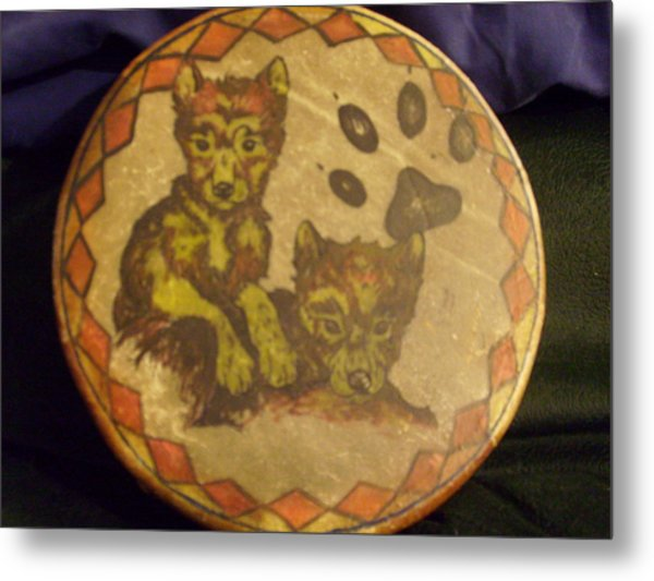 Wolf Pup Drum Metal Print by Angelina Benson