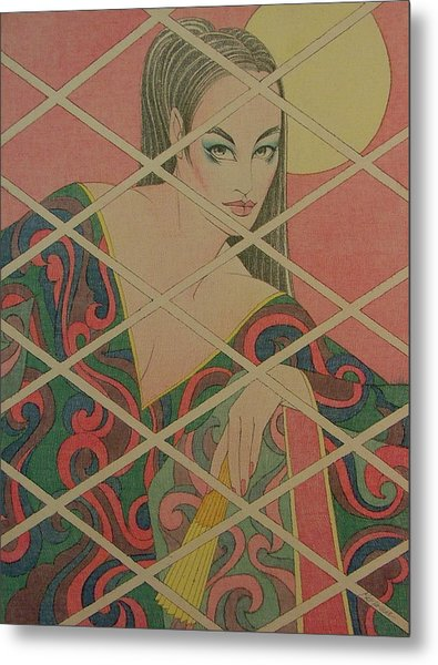 Woman And The Moon Metal Print by Gary Kaemmer