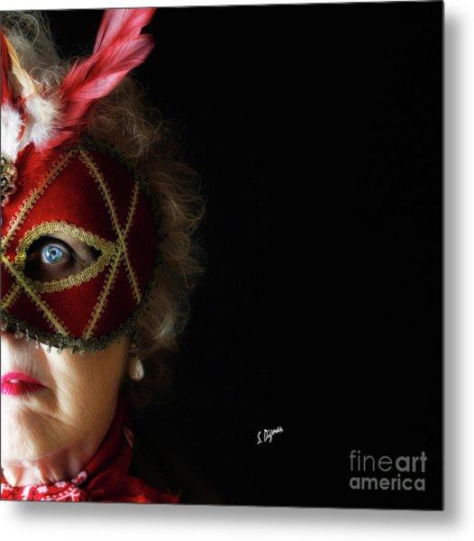 Woman In Mask  Metal Print by Steven Digman