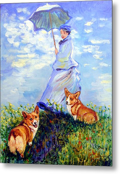 Woman With Parasol And Corgis After Monet Metal Print by Lyn Cook