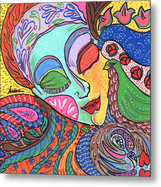 Woman With Scarf Metal Print by Sharon Nishihara