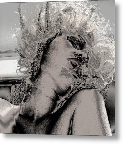 Women Body-metalic Face Metal Print by Robert Litewka