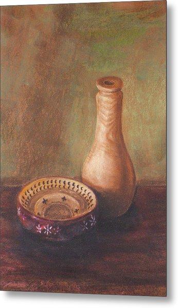 Wooden Vase Metal Print by Srilata Ranganathan