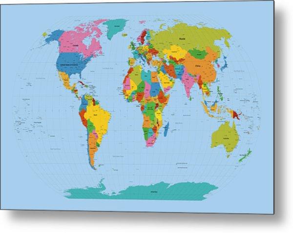 World Map Bright Metal Print