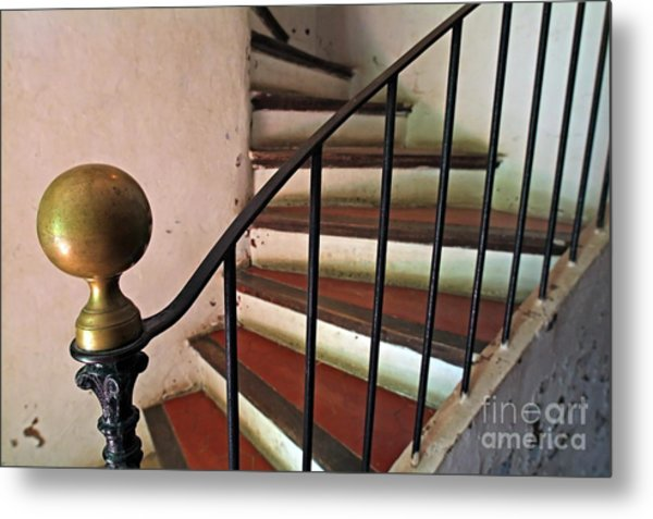 Wrought Iron Handrail Of An Old Staircase Metal Print by Sami Sarkis