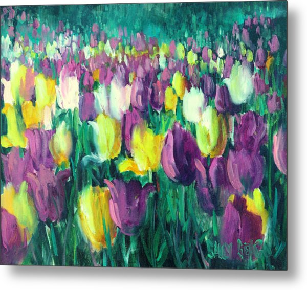 Yellow And Violet Tulips Metal Print by Sally Seago