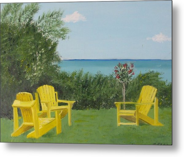 Yellow Chairs At Blue Mountain Beach Metal Print by John Terry