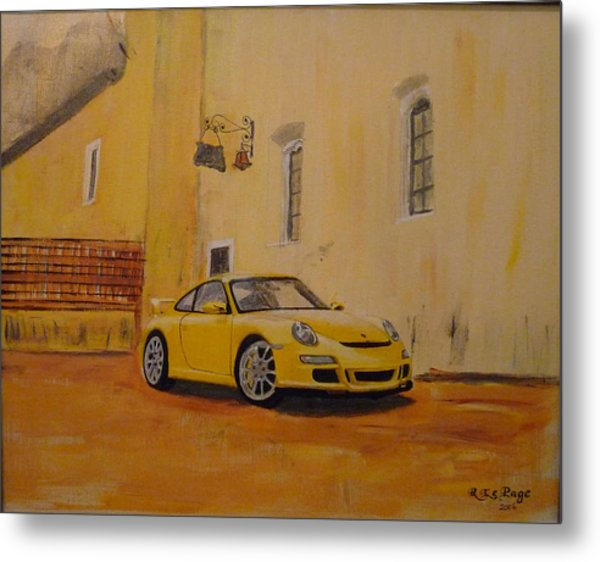 Yellow Gt3 Porsche Metal Print