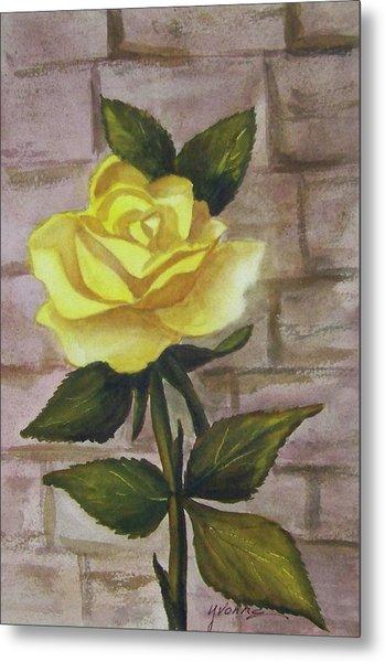 Yellow Rose Metal Print by Yvonne Kinney