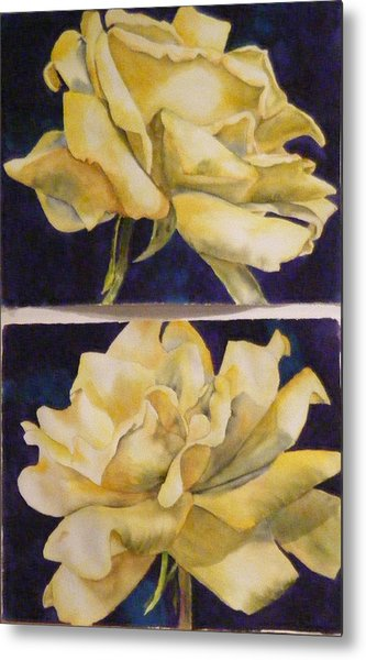 Yellow Roses Diptych Metal Print