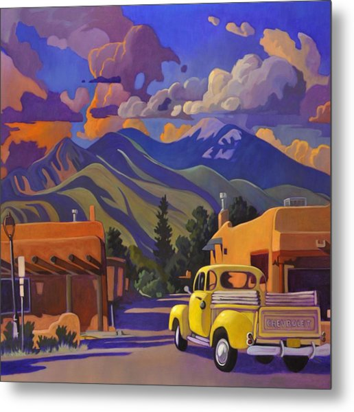 Yellow Truck Square Metal Print