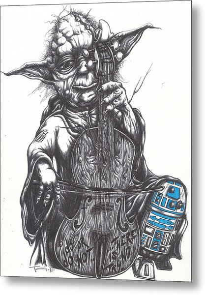 Yoda Soothes Baby R2 With The Charm Of His Homegrown Cello Metal Print