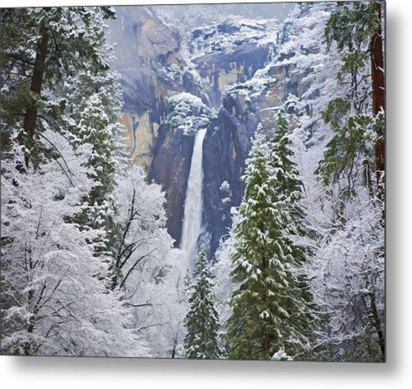 Yosemite Falls In The Snow Metal Print
