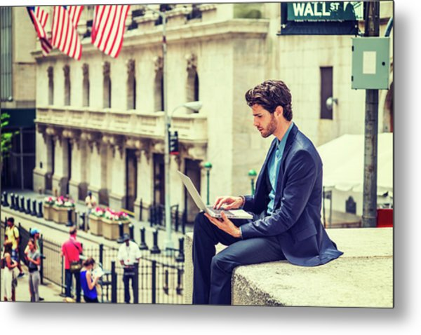 Young Businessman Working On Wall Street In New York Metal Print