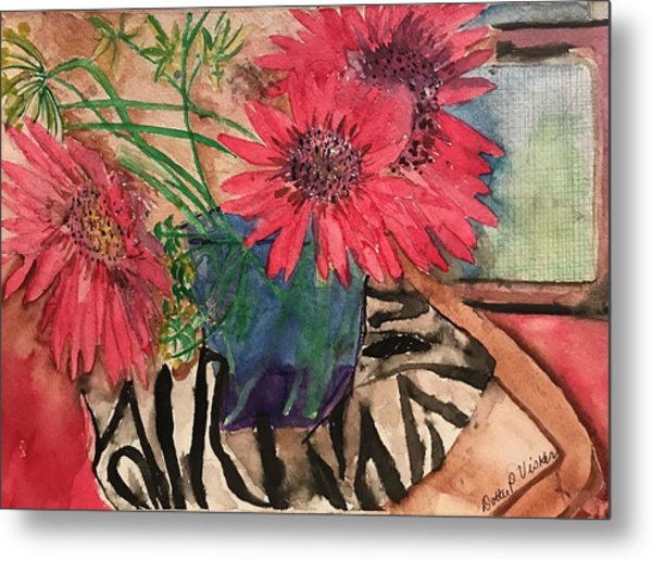 Zebra And Red Sunflowers  Metal Print