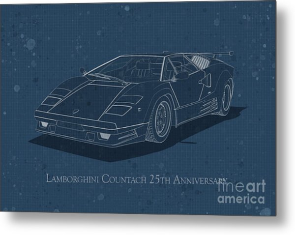 Lamborghini Countach 25th Anniversary - Front View - Stained Blu Metal Print