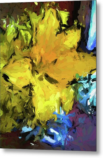 Yellow Flower And The Eggplant Floor Metal Print