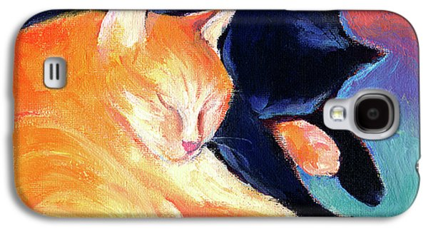 Orange And Black Tabby Cats Sleeping Galaxy S4 Case by Svetlana Novikova