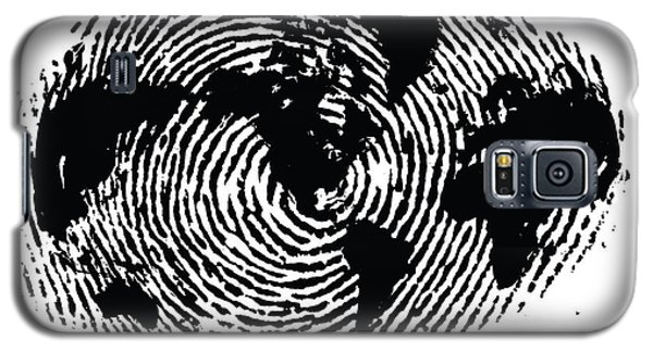 black and white ink print poster One of a Kind Global Fingerprint Galaxy S5 Case