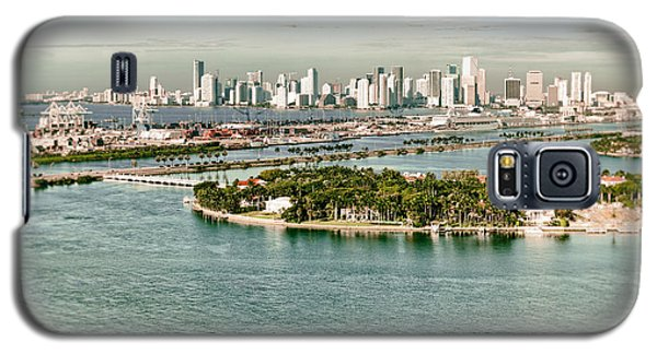 Galaxy S5 Case featuring the photograph Retro Style Miami Skyline And Biscayne Bay by Gary Dean Mercer Clark