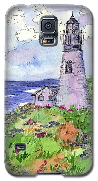 Galaxy S5 Case featuring the painting Lighthouse In Summer  by Cathie Richardson