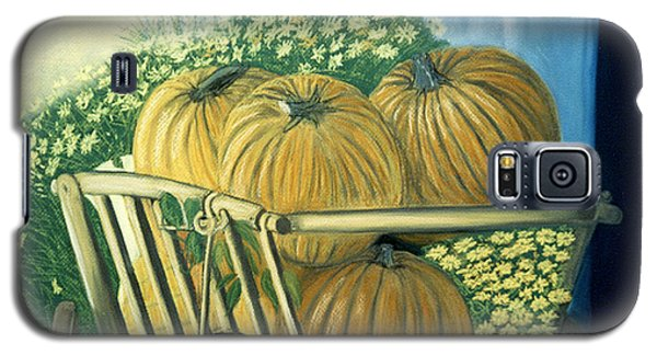 Galaxy S5 Case featuring the pastel Pumpkin Cart In Boerne by Jan Amiss