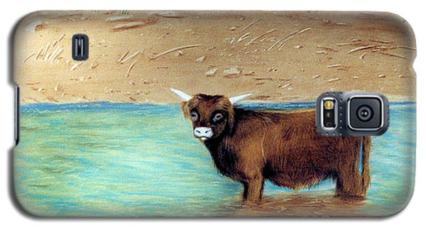Galaxy S5 Case featuring the pastel Scottish Highland Bull by Jan Amiss